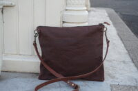 MED- Brown Wax Coated Crossbody Bag (2)