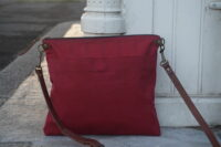 MED- Cherry Red Wax Coated Crossbody Bag (4)